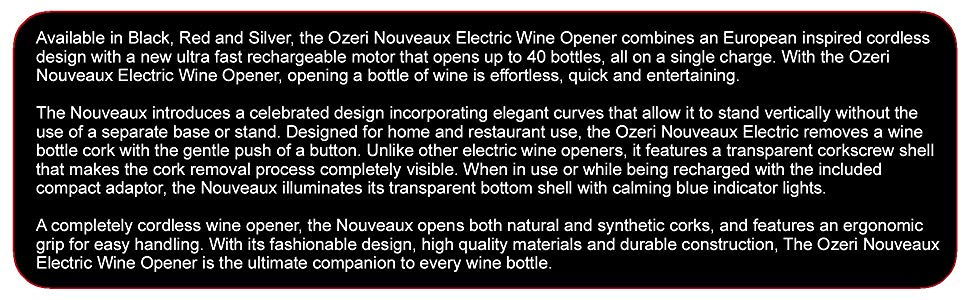 Ozeri OW02A-B Nouveaux Electric Wine Opener with Removable Free Foil Cutter, Elegant Black