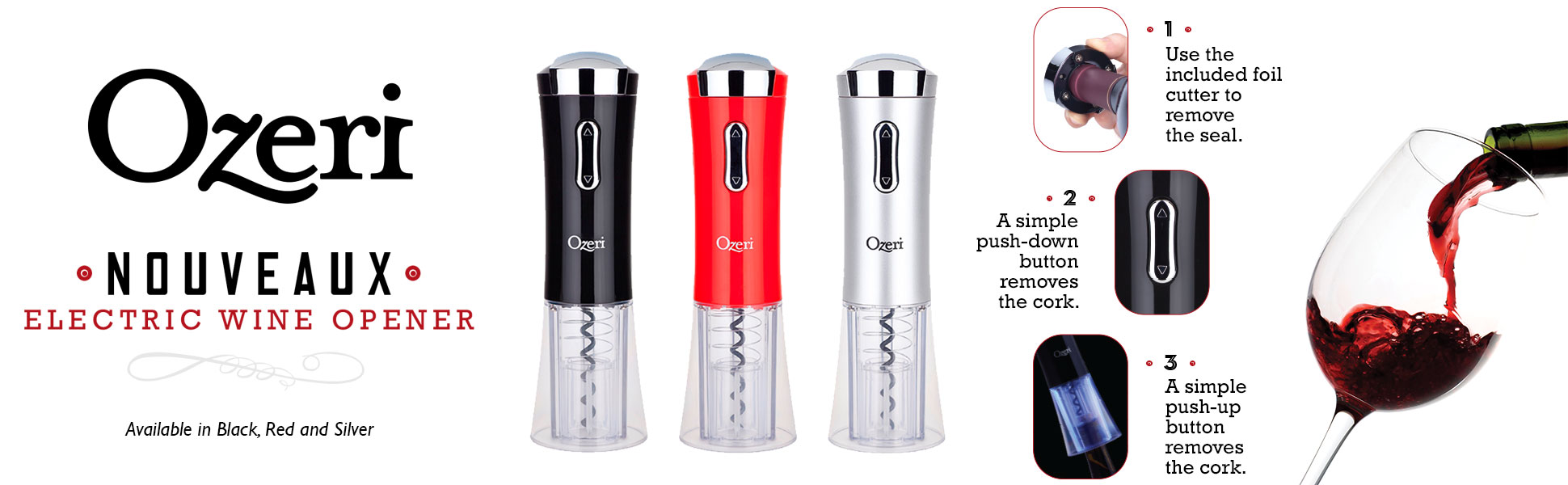 Ozeri Nouveaux Electric Wine Opener with Removable Free Foil Cutter, Stylish Red