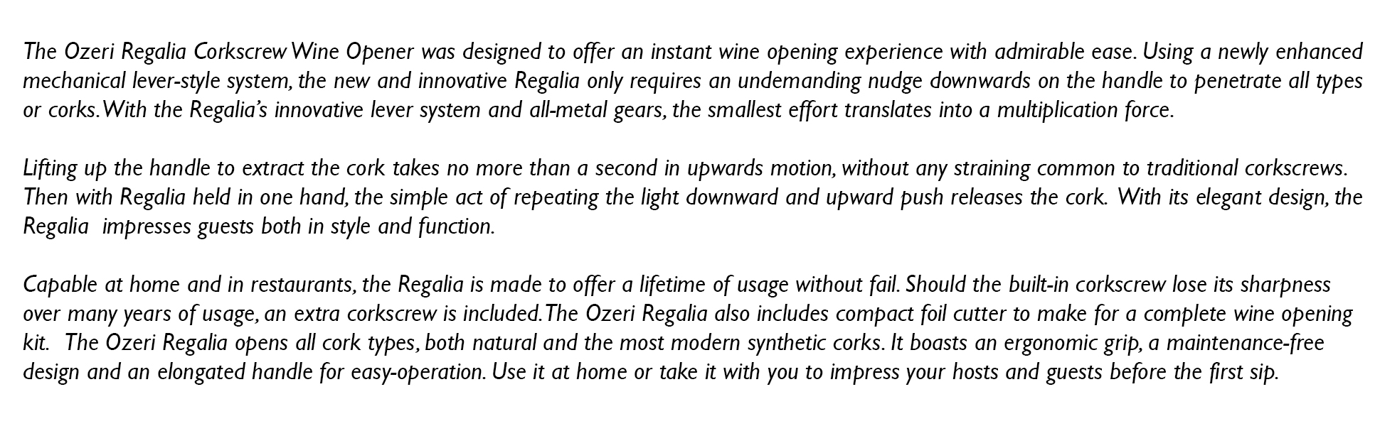 Ozeri REGALIA Corkscrew Wine opener