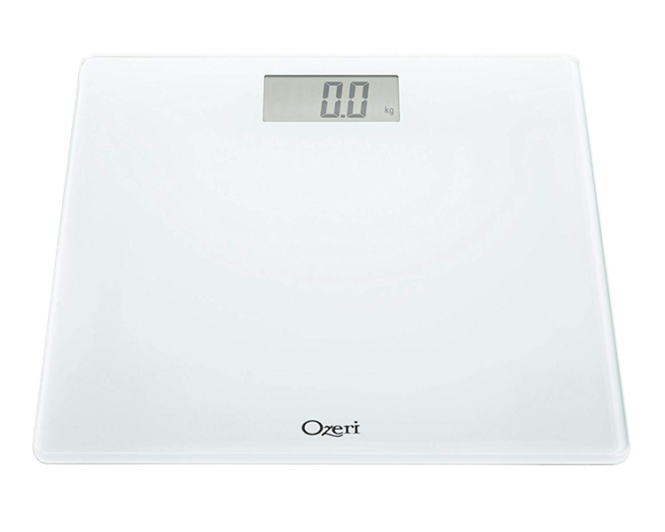 Black Precision Digital Bath Scale.In Tempered Glass With Step-on Activation