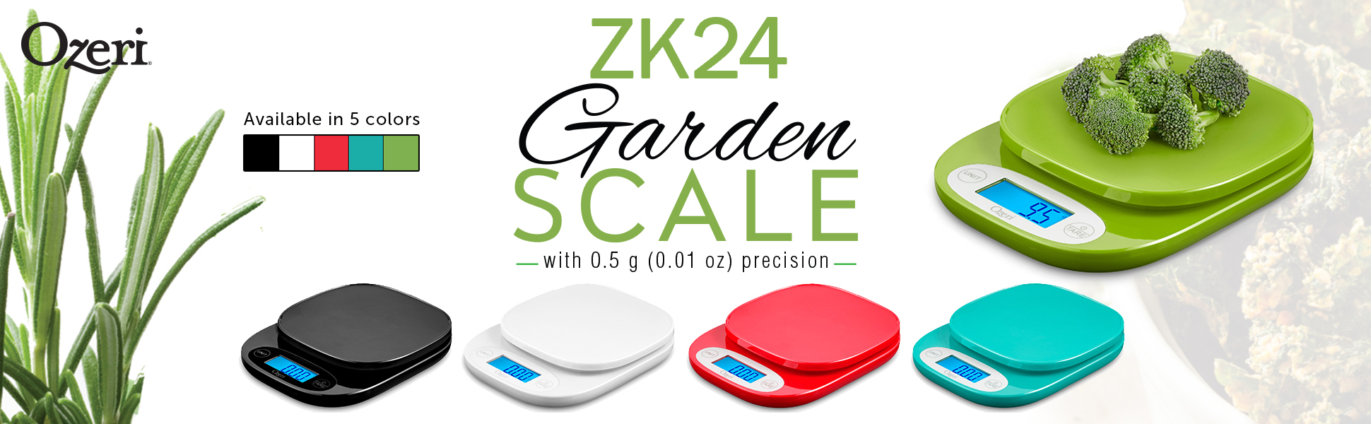 Ozeri 420 Garden and Kitchen Scale, with 0.5 g (0.01 oz) Precision Weighing Technology, in Black